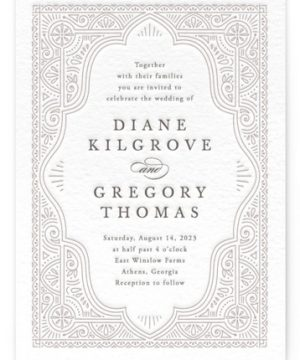 Ornamental Letterpress Wedding Invitations