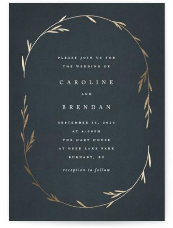 Oval Botanical Foil-Pressed Wedding Invitations