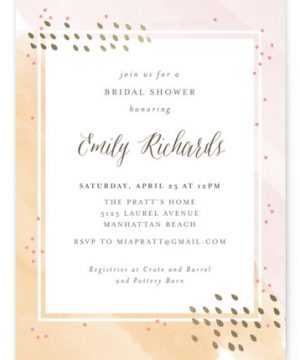 Painterly Foil-Pressed Bridal Shower Invitations
