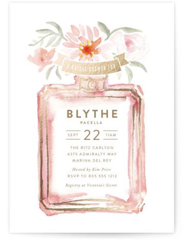 Parfumerie Foil-Pressed Bridal Shower Invitations