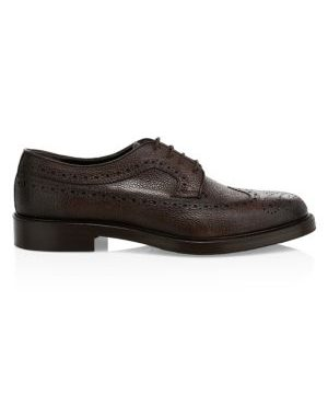 Pebble Grain Leather Lace-Up Dress Shoes