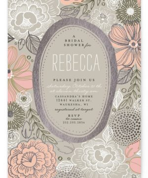 Peony Frame Foil-Pressed Bridal Shower Invitations