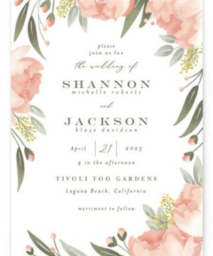 Peony Wreath Wedding Invitations