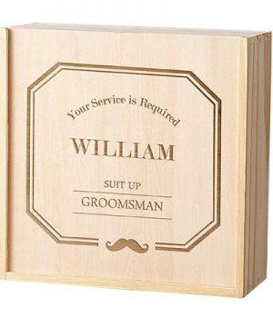Personalized Groomsmen Wooden Gift Box Set - Mustache