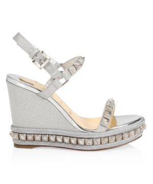 Pira Ryad Studded Glitter Platform Wedge Sandals