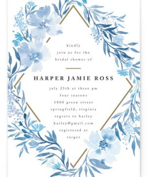 Poetic Blue Bridal Shower Invitations