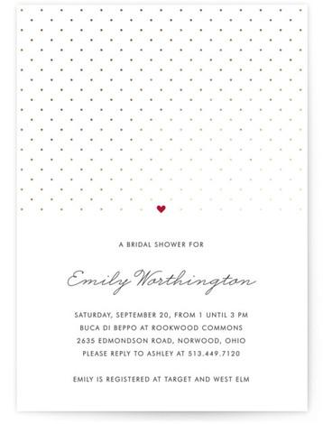 Polka Dot Foil-Pressed Bridal Shower Invitations