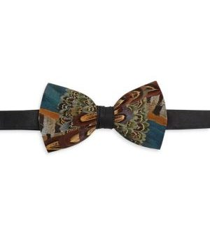 Pollock Feather Bow Tie
