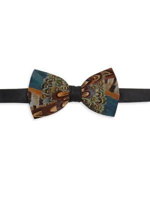 Pollock Feather Bow Tie
