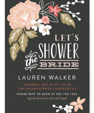 Pressed Flowers Bridal Shower Invitations