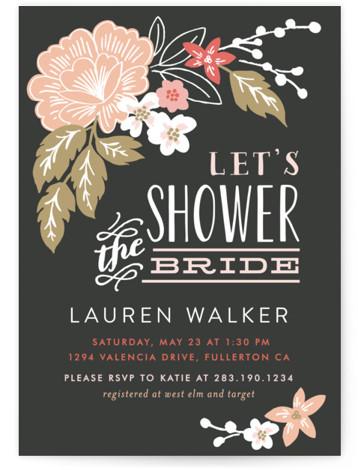 Pressed Flowers Bridal Shower Invitations