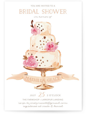 Princess Cake Bridal Shower Invitations