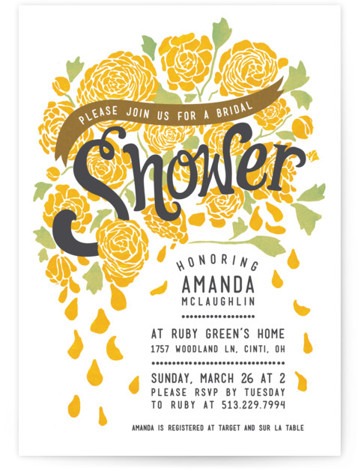 Raining Peonies Bridal Shower Invitations