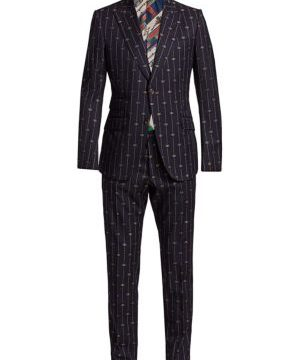 Retro Thin GG Stripe Wool Suit