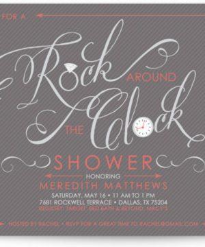 Rock Around The Clock Bridal Shower Invitations