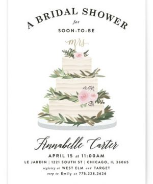 Rustic Cake Foil-Pressed Bridal Shower Invitations