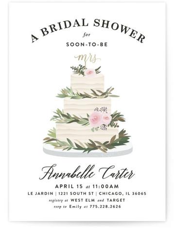 Rustic Cake Foil-Pressed Bridal Shower Invitations
