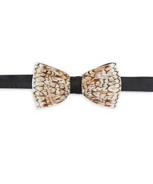 Satin Bobwhite Feather Bow Tie