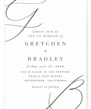 Script Initials Letterpress Wedding Invitations