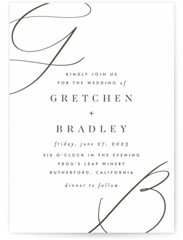 Script Initials Letterpress Wedding Invitations