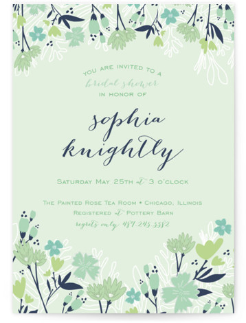 Sea Floral Bridal Shower Invitations
