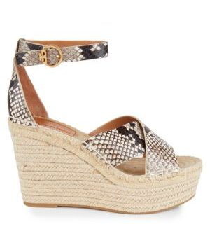 Shelby Snakeskin-Embossed Leather Espadrille Wedge Sandals