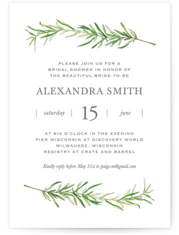 Simple Sprigs Bridal Shower Invitations