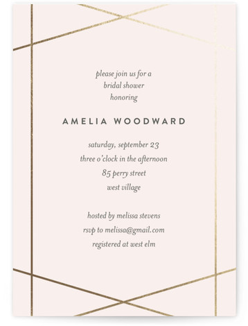 Simplicity Foil-Pressed Bridal Shower Invitations