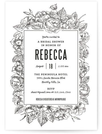 Sketched Foliage Bridal Shower Invitations