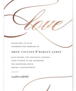 So In Love Foil-Pressed Wedding Invitations