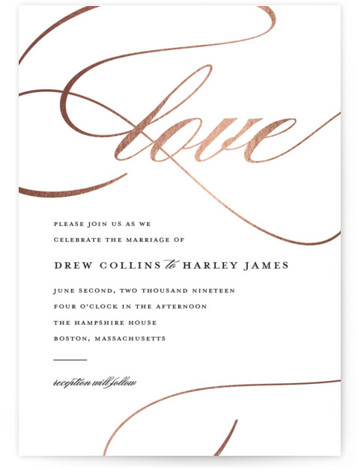 So In Love Foil-Pressed Wedding Invitations