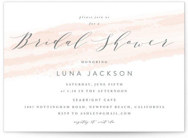 Softly Brushed Bridal Shower Invitations