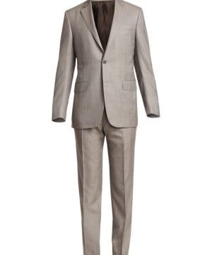 Solid Wool & Silk Mulberry Single-Breasted Suit