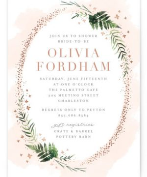 Sparkling Ferns Foil-Pressed Bridal Shower Invitations