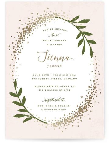 Sparkling Foil-Pressed Bridal Shower Invitations