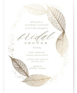 Sparkly Leaves Foil-Pressed Bridal Shower Invitations