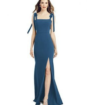 Special Order Bowed Flat Strap Trumpet Gown with Front Slit