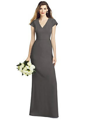 Special Order Cap Sleeve A-line Crepe Gown with Pockets