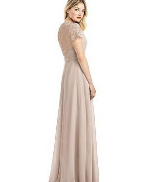 Special Order Cap Sleeve Jewel-Neck Lace and Chiffon Gown