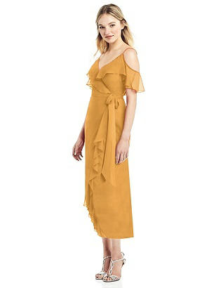 Special Order Cold-Shoulder Ruffled Wrap Dress