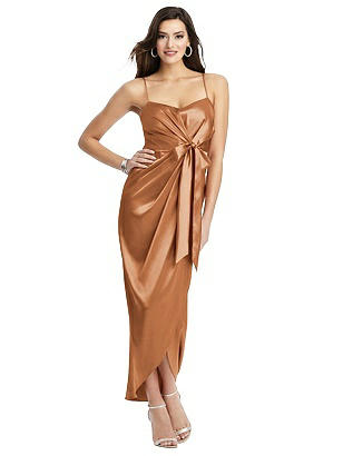 Special Order Faux Wrap Midi Dress with Draped Tulip Skirt