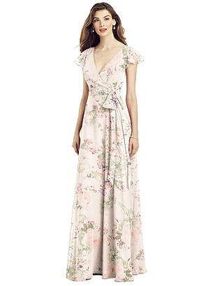 Special Order Flutter Sleeve Faux Wrap Chiffon Dress