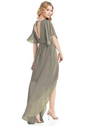 Special Order Flutter Sleeve High-Low Shimmer Cocktail Dress