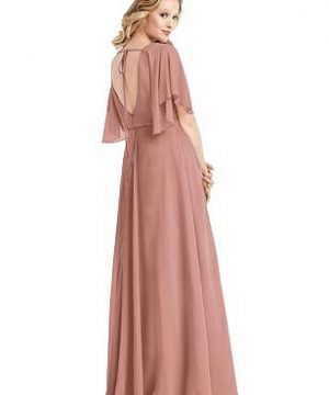 Special Order Flutter Sleeve Open-Back Maxi Dress