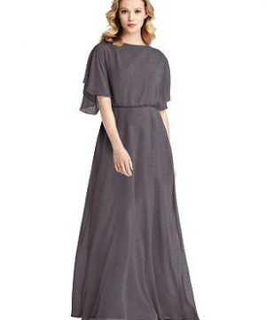 Special Order Flutter Sleeve Shimmer Open-Back Gown