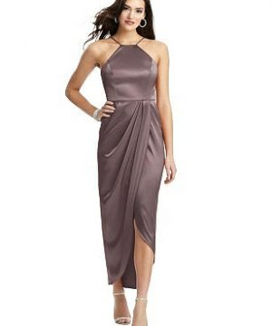 Special Order Halter Midi Dress with Draped Tulip Skirt
