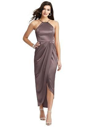 Special Order Halter Midi Dress with Draped Tulip Skirt