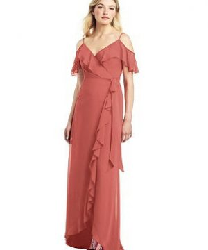 Special Order High Low Ruffle-Trimmed Chiffon Wrap Dress