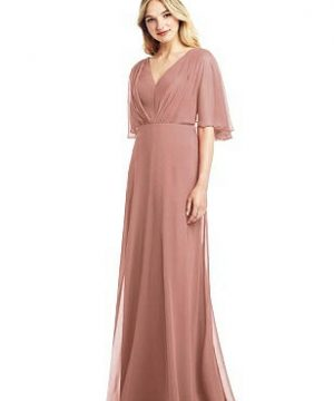 Special Order Long Flutter Sleeve Chiffon Dress with Pleat Detail