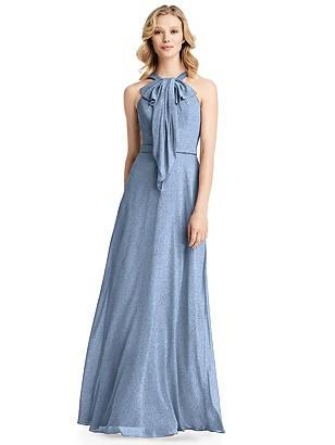 Special Order Long Ruffle Halter Shimmer Dress
